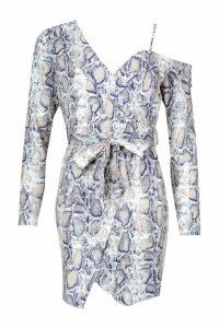 Womens Snake Printed Asymmetric Belted Blazer Dress - grey - S, Grey