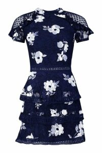 Womens Floral Lace Tiered Mini Dress - navy - 6, Navy