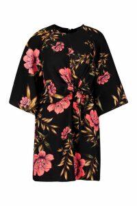 Womens Floral Print Tie Front Skater Dress - black - 10, Black