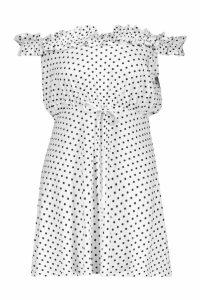 Womens Spot Ruffle Bardot Tie Waist Mini Dress - white - 6, White