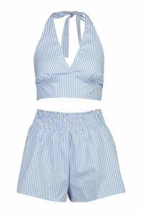 Womens Halterneck Stripe Bralet & Short Co-Ord - blue - 14, Blue