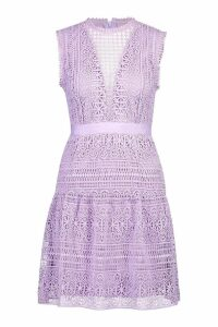 Womens All Over Crochet Dress - purple - M, Purple