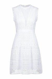 Womens All Over Crochet Dress - white - M, White