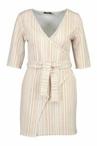 Womens Stripe Detail Wrap Dress - beige - 12, Beige