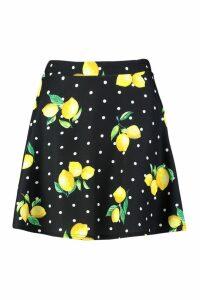 Womens Polka Dot Lemon Flippy Skirt - black - 8, Black