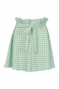 Womens Paperbag Check Waist Gingham Skater Skirt - green - 14, Green
