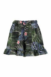 Womens Palm Print Drawstring Woven Shorts - blue - 6, Blue