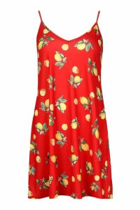 Womens Lemon Print Strappy Swing Dress - red - 10, Red