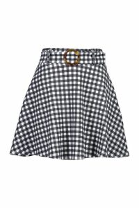 Womens Tonal Gingham Check Horn O Ring Skater Skirt - black - 10, Black