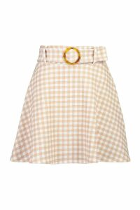 Womens Tonal Gingham Check Horn O Ring Skater Skirt - Beige - 14, Beige