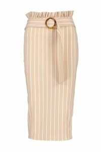 Womens Tonal Stripe Paperbag Midi Skirt - beige - 16, Beige