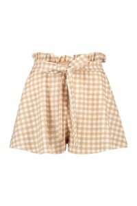 Womens Gingham Paperbag Waist Short - Beige - 14, Beige