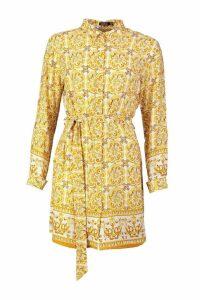 Womens Tile Print Shirt Dress - yellow - 16, Yellow