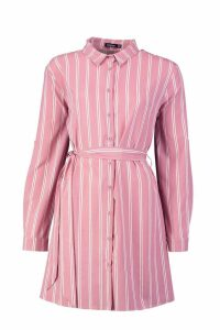 Womens Stripe Print Shirt Dress - pink - 10, Pink