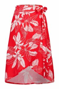 Womens Floral Wrap Tie Midi Skirt - red - 10, Red