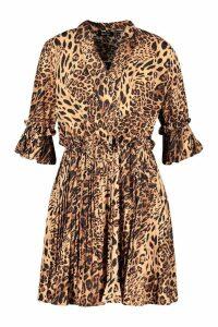 Womens Leopard Print Pleated Frill Smock Dress - brown - 16, Brown