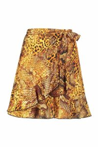 Womens Mixed Animal Print Ruffle Wrap Skirt - brown - 6, Brown