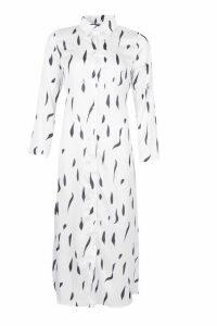 Womens Abstract Spot Midi Shirt Dress - white - 12, White