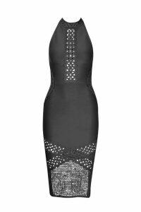 Womens Contour Bandage Crochet Insert Midi Dress - black - S, Black