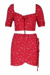 Womens Ditsy Print Top & Wrap Skort Co-Ord - red - 14, Red