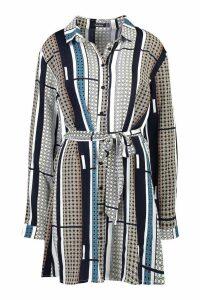 Womens Tile Print Shirt Dress - navy - 8, Navy