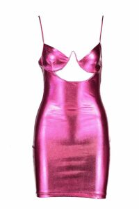 Womens PU Underwired Bust Bodycon Dress - Pink - M, Pink