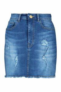 Womens Distressed Stretch Denim Mini Skirt - dark wash - 6, Dark Wash