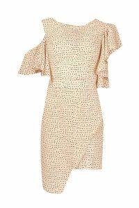 Womens Woven Extreme Ruffle Spot Mini Dress - Pink - 10, Pink