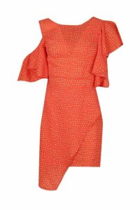 Womens Woven Extreme Ruffle Spot Mini Dress - red - 10, Red