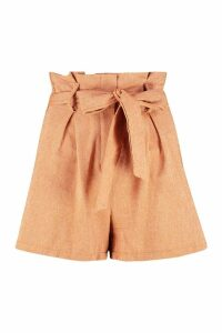 Womens Paperbag Tailored Buckle Linen Look Short - orange - 24, Orange