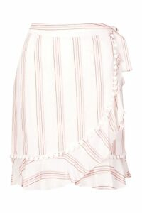 Womens Cotton Stripe Pom Pom Trim Frill Wrap Skirt - Pink - S, Pink