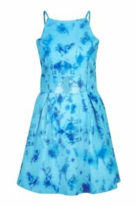 Womens Tie Dye Cut Out Dress - blue - 14, Blue
