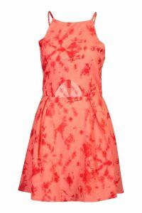 Womens Tie Dye Cut Out Dress - orange - 12, Orange