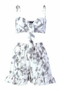Womens Tie Dye Bandeau & Short Co-Ord - grey - 14, Grey
