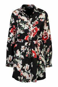 Womens Floral Shirt Dress - black - 14, Black