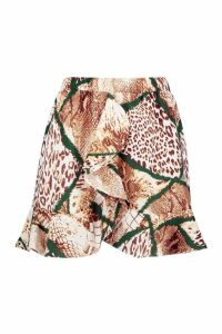 Womens Woven Mixed Animal Print Mini Skirt - brown - 12, Brown