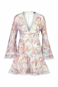Womens Printed Lace Flared Sleeve Skater Dress - Pink - 12, Pink