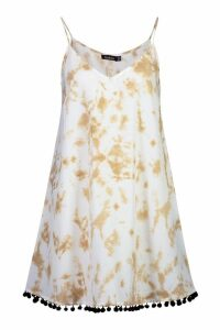 Womens Tie Dye Pom Pom Swing Dress - cream - 12, Cream