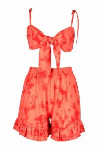 Womens Tie Dye Bandeau & Short Co-Ord - orange - 14, Orange