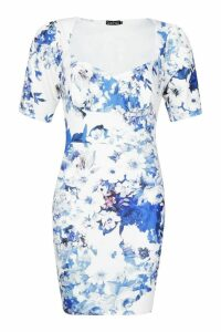 Womens Floral Cupped Hook & Eye Bodycon Mini Dress - blue - 14, Blue