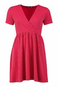 Womens Pinstripe V Neck Smock Dress - red - 8, Red