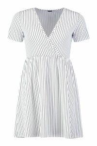 Womens Pinstripe V Neck Smock Dress - white - 12, White