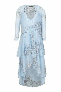 Womens Floral Chiffon Ruffle Layer Maxi Dress - blue - 8, Blue