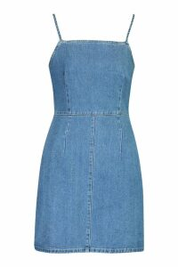 Womens Strappy Denim Bodycon Dress - blue - 8, Blue