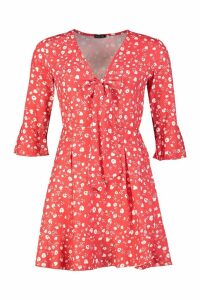 Womens Ditsy Floral Knot Front Dress - red - 10, Red