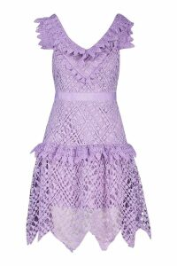 Womens All Over Crochet Skater Midi Dress - purple - S, Purple