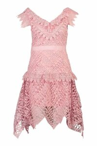 Womens All Over Crochet Skater Midi Dress - pink - S, Pink