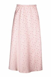 Womens Star Print Satin Bias Cut Midi Skirt - pink - 14, Pink
