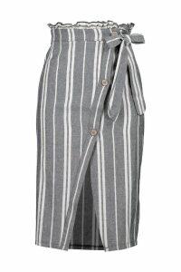 Womens Striped Linen Tie Waist Button Split Midi Skirt - blue - 6, Blue