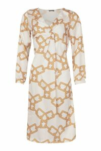Womens Chain Print Wrap Midi Dress - white - 8, White